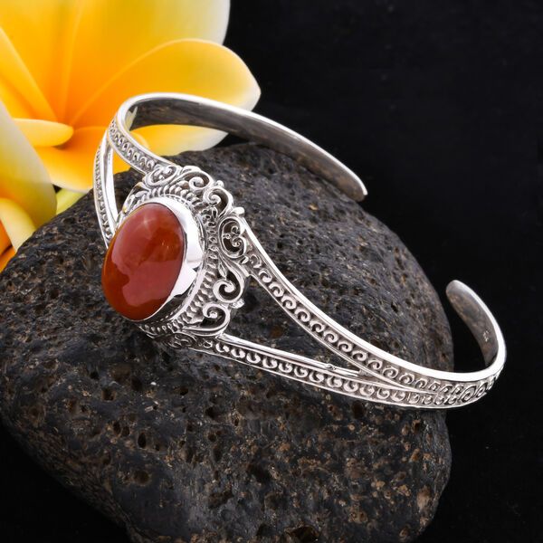 Royal Bali Collection - Red Jade Cuff Bangle (Size 7.5) in Sterling Silver 14.53 Ct, Silver wt 21.62 Gms