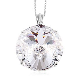 J Francis Crystal from Swarovski White Crystal (Rnd) Pendant With Chain (Size 30) in Platinum Overla
