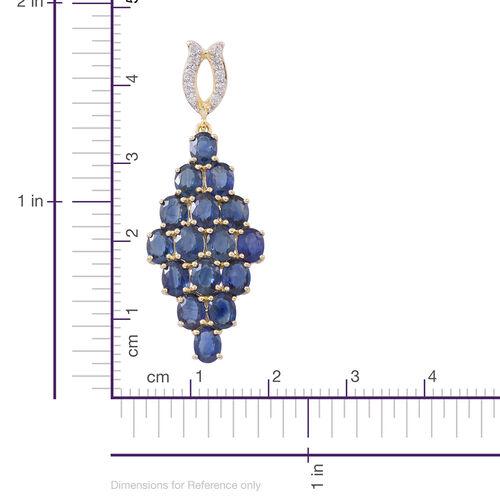 9K Yellow Gold Australian Blue Sapphire (Rnd), Natural White Cambodian Zircon Pendant 5.750 Ct.