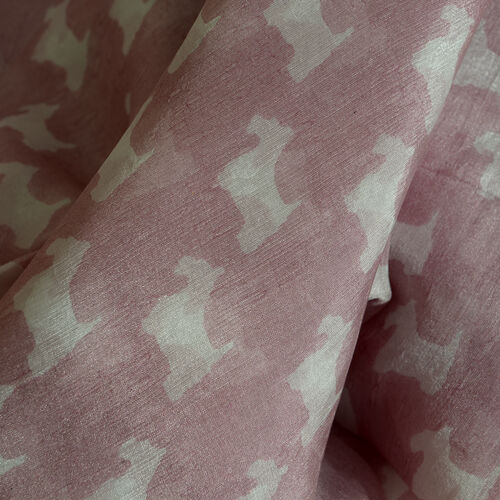 100% Mulberry Silk Pink and White Colour Dog Pattern Scarf (Size 180x100 Cm)