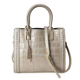 100% Genuine Leather Golden Colour Tote Bag (Size 27.5x12x24 Cm) with Detachable Shoulder Strap