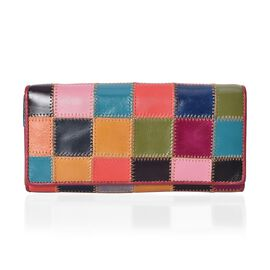 100% Genuine Leather One Time Close Out Deal Multi Colour Wallet (Size 18.5x3x9 Cm) - Block