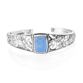 16.75 Ct Blue Jade Cuff Bangle in Silver 28.64 Grams 7 to 7.75 Inch