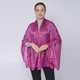 LA MAREY 100% Mulberry Silk Skull Pattern Womens Scarf (Size:175x110Cm) - Pink