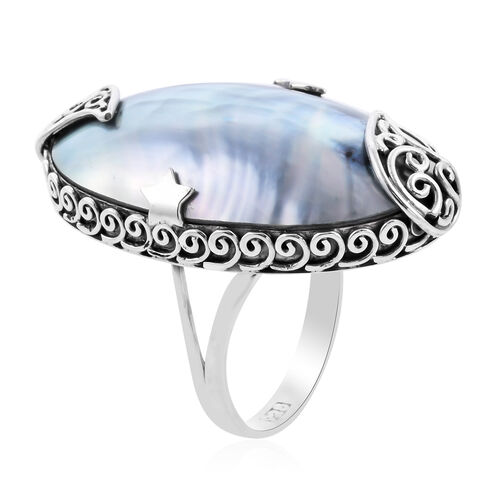 Royal Bali Collection - Blue Mabe Pearl Ring in Sterling Silver, Silver wt 7.39 Gms