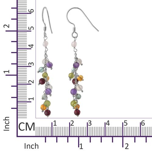 Mozambique Garnet, Amethyst, Citrine and Multi Gemstone Dangle Hook Earrings in Platinum Overlay Sterling Silver 9.120 Ct.