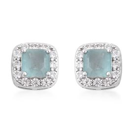 Grandidierite (Asscher Cut), Natural White Cambodian Zircon Earrings (with Push Back) in Rhodium Ove