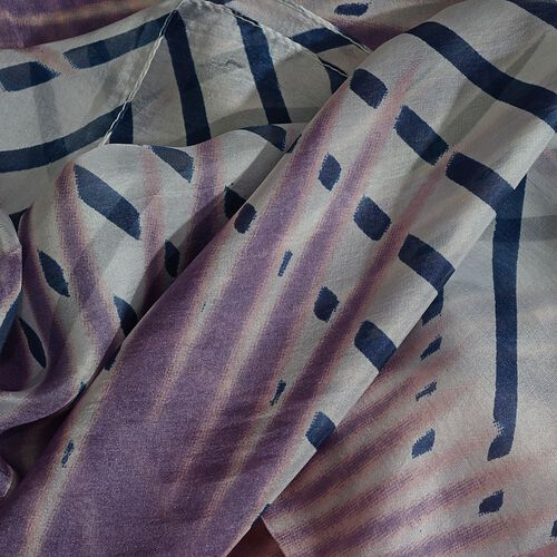 100% Mulberry Silk Purple, Blue and White Colour Palmetto Leaves Hand Screen Printed Scarf (Size 180X100 Cm)