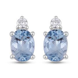 ILIANA 18K White Gold AAAA Santa Maria Aquamarine and Diamond Earrings 1.50 Ct.