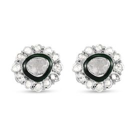 GP Polki Diamond and Blue Sapphire Enamelled Stud Earrings (with Push Back) in Platinum Overlay Ster