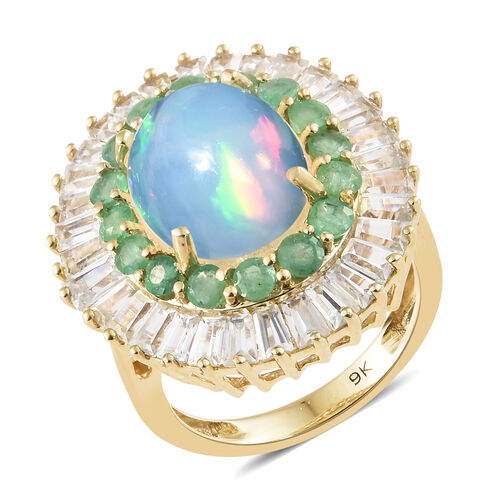 Signature Collection-9K Yellow Gold AA Ethiopian Welo Opal (Ovl 13x10 mm),Natural Cambodian Zircon and Kagem Zambian Emerald Ring 7.000 Ct