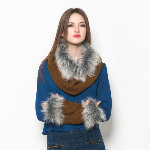 Chocolate Colour Knitted Snood and Hand Gloves with Fur