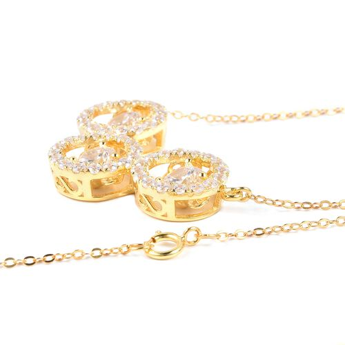 J Francis - Yellow Gold Overlay Sterling Silver (Rnd) Dancing Necklace (Size 18) Made with SWAROVSKI ZIRCONIA