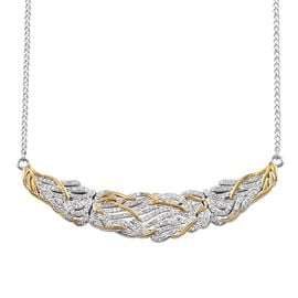 Diamond (Rnd) Necklace (Size 18) in Platinum and Yellow Gold Overlay Sterling Silver 1.00 Ct