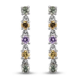 Rainbow Sapphire Dangle Earrings in Platinum Overlay Sterling Silver 1.16 ct