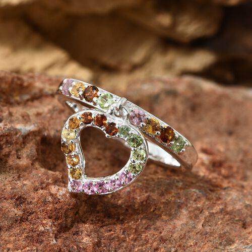 One Time Deal-Rainbow Tourmaline (Rnd) Heart Charm Ring in Sterling Silver