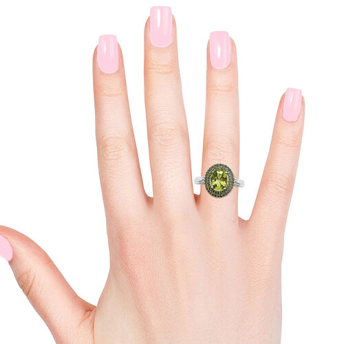 One Time Deal- AA Hebei Peridot (Ovl 9x7 mm), Green Diamond Double Halo Ring in Platinum Overlay Sterling Silver 2.250 Ct.