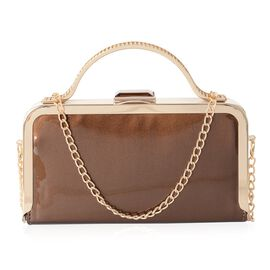 Boutique Collection High Glossed Bronze Clutch with Crystal Embellished and Removable Chain Shoulder