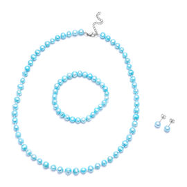 3 Piece Set -  Blue Fresh Water Pearl Stone Bracelet and Earring and Necklace Pure White Stainless S