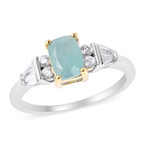 1.37 Ct Grandidierite and Zircon Classic Ring in Rhodium and Gold Plated Sterling Silver