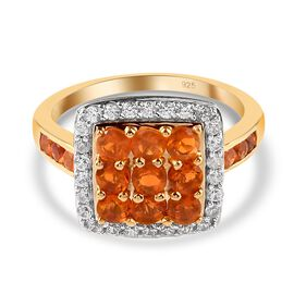 Jalisco Fire Opal and Natural Cambodian Zircon Ring in 14K Gold Overlay Sterling Silver 1.39 Ct.