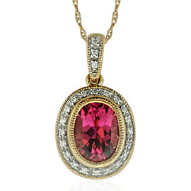 New York Close Out- 14K Rose Gold AAA Pink Tourmaline (Ovl 1.90 Ct), Diamond (I2/G-H) Pendant with Chain (Size 18) 2.152 Ct.