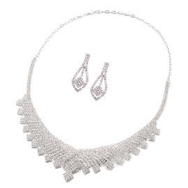 2 Piece Set White Austrian Crystal Earrings (with Push Back) and Necklace (Size 22 with 2 Inch Exten