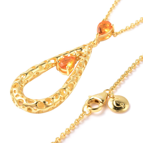 RACHEL GALLEY Misto Collection - Jalisco Fire Opal Latticework Pendant with Adjustable Chain (Size: 18/20/30) in Yellow Gold Overlay Sterling Silver, Silver wt. 11.56 Gms