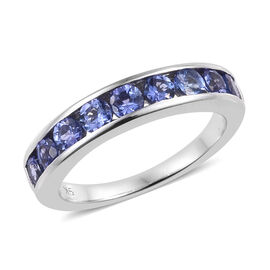 9K White Gold AA Tanzanite (Rnd) Half Eternity Ring 1.150 Ct.