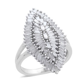 Show Stopper-Diamond (Bgt) Ring in Platinum Overlay Sterling Silver 1.500 Ct. Silver wt 6.14 Gms.