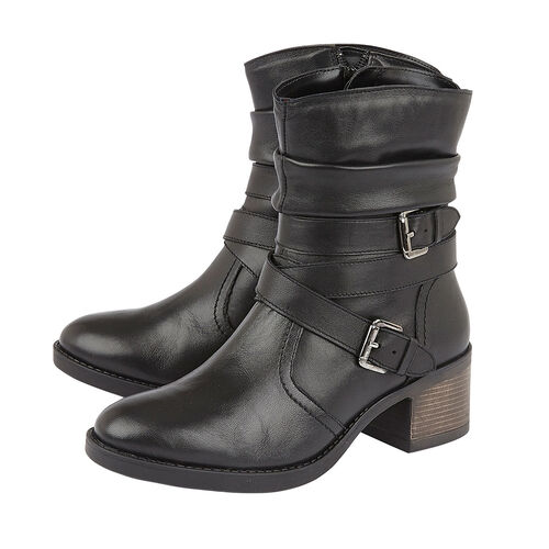 Lotus Black Leather Iowa Ankle Boots (Size 4)