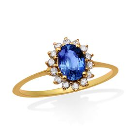 9K Yellow Gold AA Royal Ceylon Sapphire and Diamond (I3/G-H) Ring 1.24 Ct.