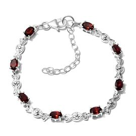 One Time Deal-Mozambique Garnet Bracelet (Size 6.5 With 2 inch Extender) in Sterling Silver 4.56 Ct.