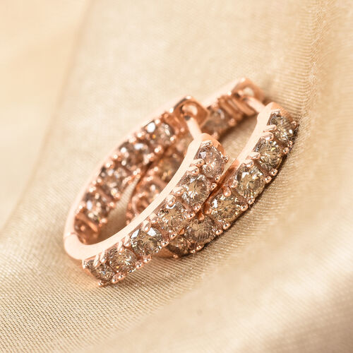 Limited Edition- 9K Rose Gold SGL Certified Natural Champagne Diamond (I2-I3) In-Out Hoop Earrings 1.05 Ct.