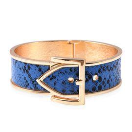 Belt Buckle Snake Skin Embossed Design Bangle in Gold Tone Blue 6.5 to 7.25 Inch Adjustable
