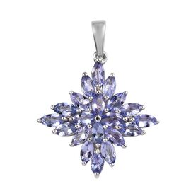 Tanzanite (Mrq) Cluster Pendant in Platinum Overlay Sterling Silver 2.50 Ct.