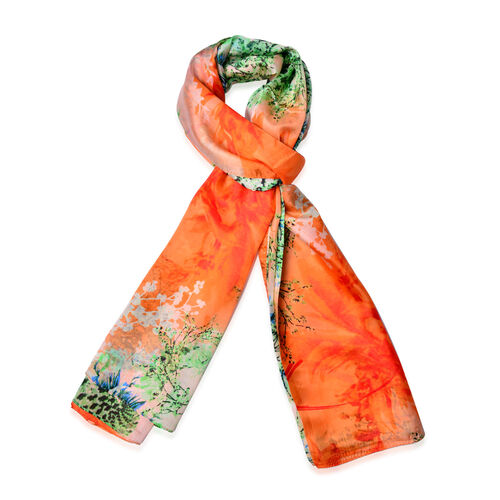 OneTime Deal- 100% Mulberry Silk Orange and Multi Colour Floral Pattern Scarf (Size 170x110 Cm)