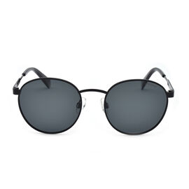 Polaroid Retro Panto Black Sunglasses with Black Lenses