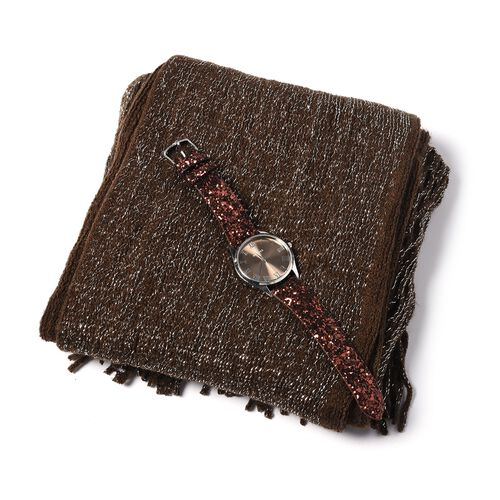 Set of 2- Brown Colour Magic Scarf with Silver Threads (Size 170x20 Cm) and STRADA Japanese Movement Water Resistant Watch with Dark Brown Colour Sequin Strap.