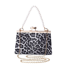 Boutique Inspired- Leopard Pattern Clutch Closure Crossbody Bag with Dangling Pearl Chain and Metall
