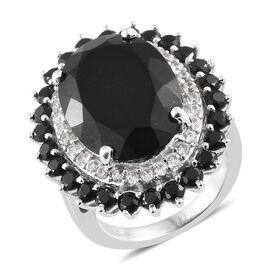 Black Tourmaline (Ovl 12.40 Ct), Boi Ploi Black Spinel, Natural Cambodian Zircon Ring in Platinum Ov