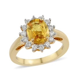 ILIANA 2.75 Ct AAA Chanthaburi Yellow Sapphire and Diamond Ring in 18K Gold Grams SI GH
