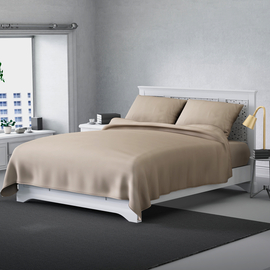 Serenity Night 4 Piece Set - Solid Microfibre 1 Flat Sheet (230x265cm), 1 Fitted Sheet (140x190+30cm) & 2 Pillowcase (50x75cm) - Ivory (Double)