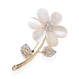 Created Cats Eye White (Pear), White Austrian Crystal Flower Brooch in Yellow Gold Tone