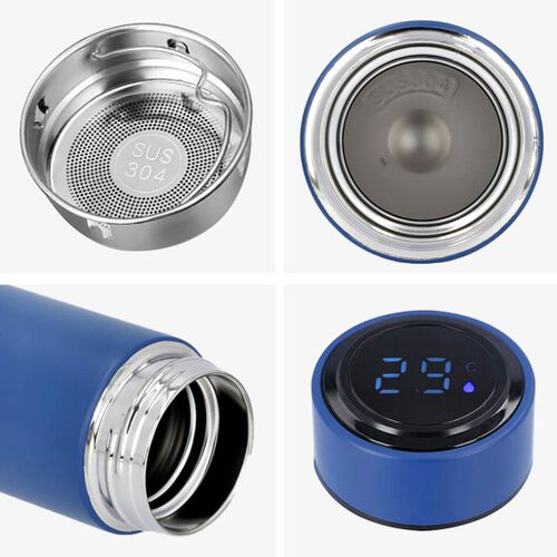 Smart Vacuum Insulated Water Bottle in Stainless Steel and Temperature Indicator  - 480ml - Navy