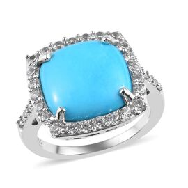 Sleeping Beauty Turquoise (Cus 12x12mm), Natural Cambodian Zircon Ring in Platinum Overlay Sterling