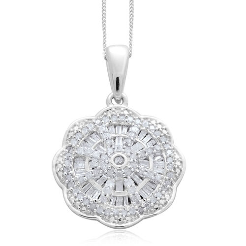 Diamond (Rnd) Pendant with Chain (Size 18) in Platinum Overlay Sterling Silver 0.750 Ct.