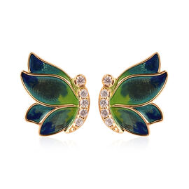GP Zircon and Blue Sapphire Enamelled Butterfly Earrings in Gold Plated Sterling Silver