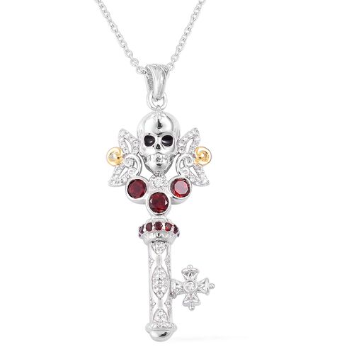 Mozambique Garnet (Rnd), Natural White Cambodian Zircon Skull Key Pendant With Chain in Gold and Rhodium Overlay Sterling Silver 1.140 Ct, Silver wt 5.04 Gms.
