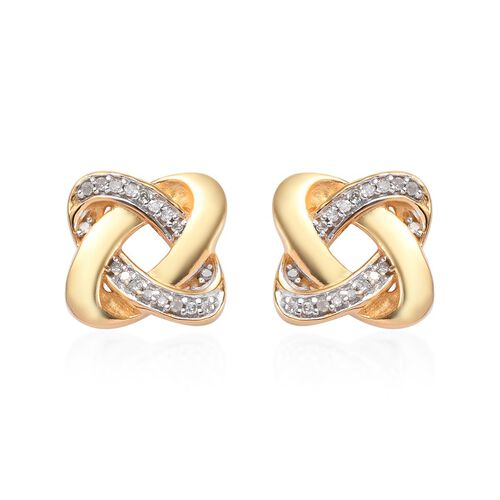 0.15 Carat Diamond Knot Stud Earrings (with Push Back) in 14K Gold Overlay Sterling Silver